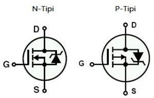 nmos ve pmos transistör sembolü