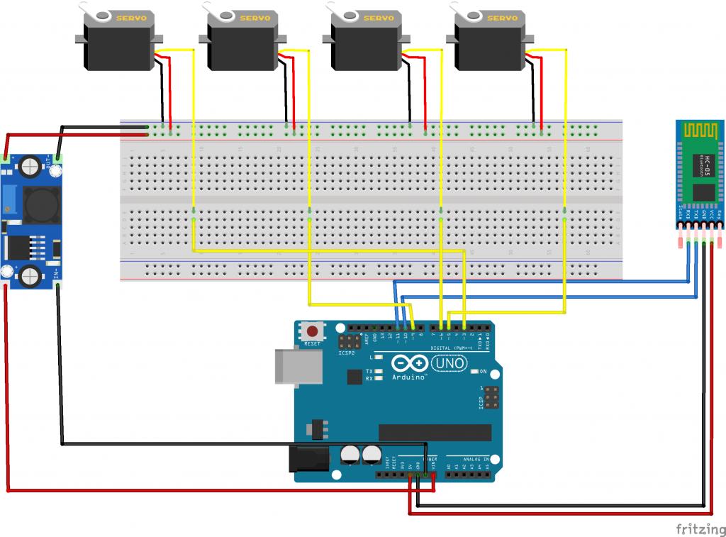 Arduino Robot Kol Fritzing Devre Şeması
