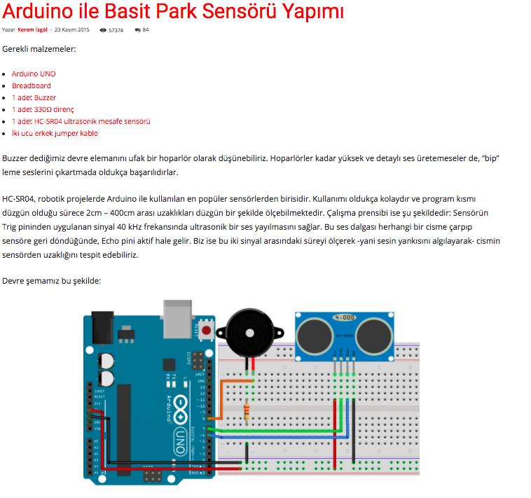 Arduino Uno ile Basit Park Sensörü Yapımı