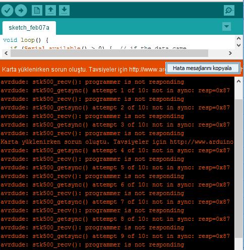 Arduino Karta Yüklerken Sorun Oluştu