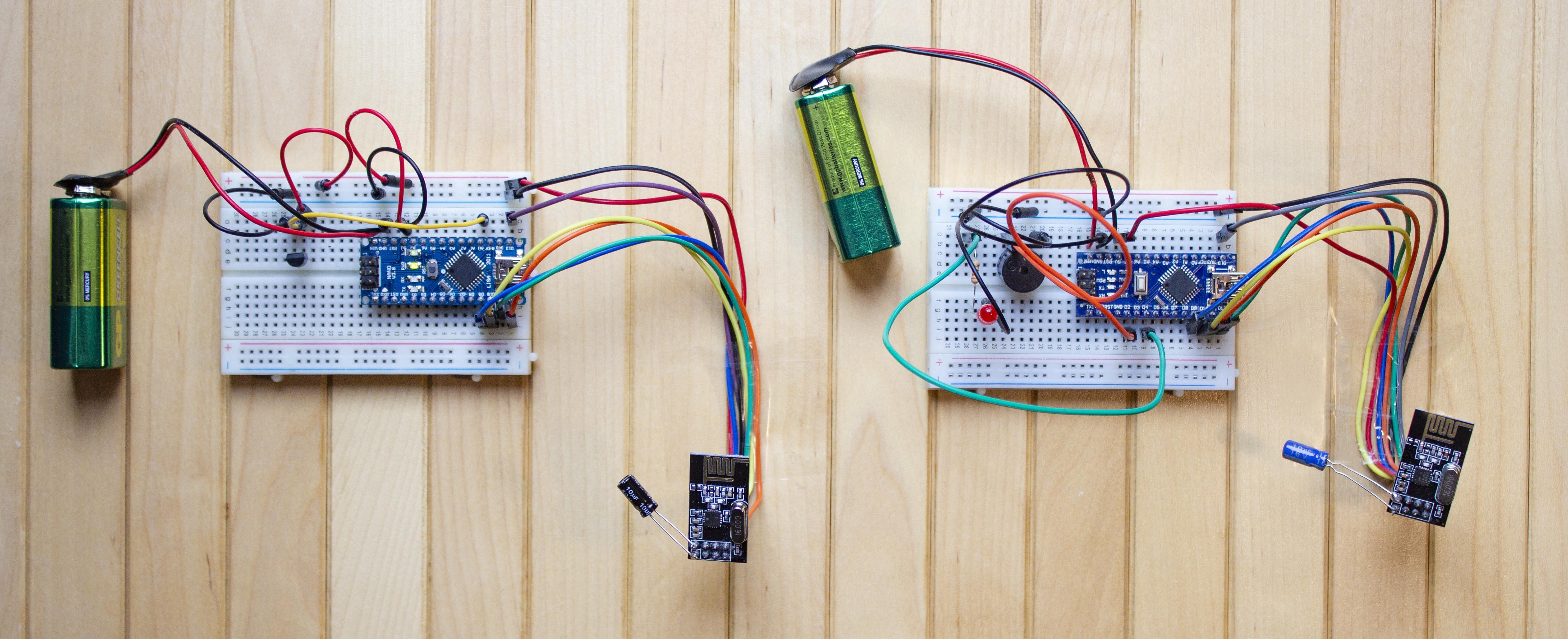 Arduino, NRF24L01 ve LM35 ile Sıcaklık Uyarı Sistemi Devresi Fotoğrafı