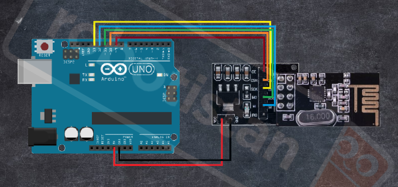 Arduino nrf24l01 alıcı bağlantı şeması