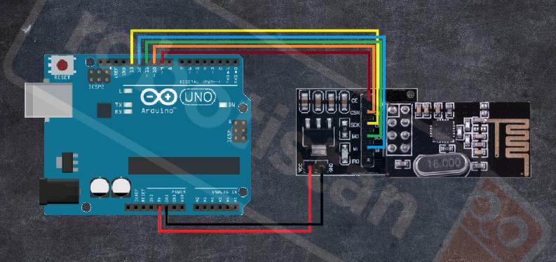 Arduino nrf24l01 verici bağlantı şeması