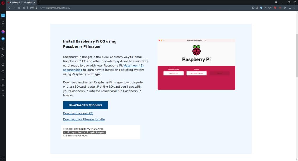 Raspberry Pi Imager İndirme Sayfası