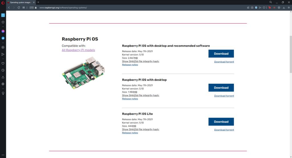Raspberry Pi OS İndirme Sayfası
