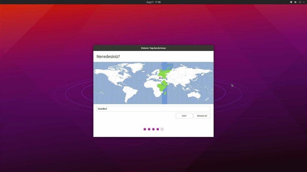 Ubuntu Desktop 21.04 Bölge Ayarı