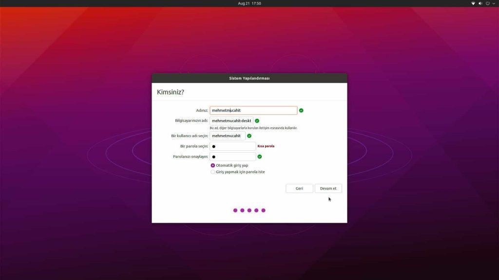Ubuntu Desktop 21.04 Kullanıcı Hesabı Ayarı