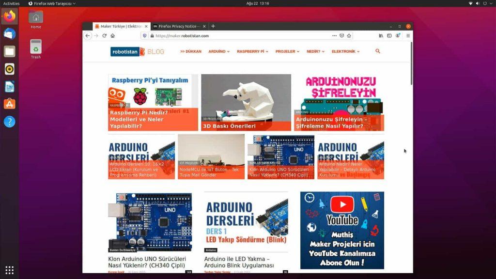 Ubuntu Desktop 21.04 Arayüzü