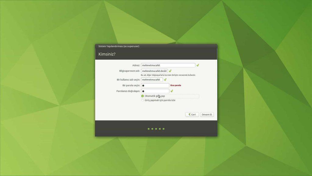 Ubuntu Mate 20.04 Kullanıcı Hesabı Ayarı