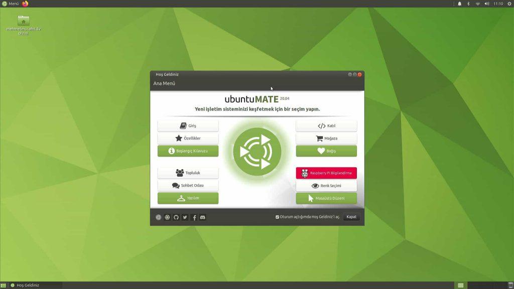Ubuntu Mate 20.04 Hoş Geldiniz Ekranı