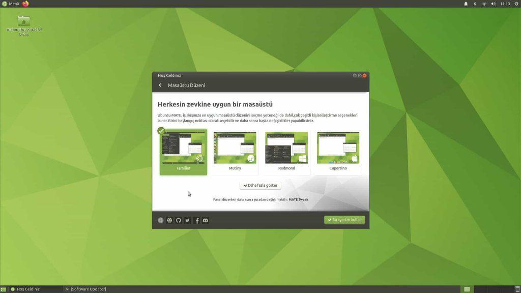 Ubuntu Mate 20.04 Masaüstü Düzeni