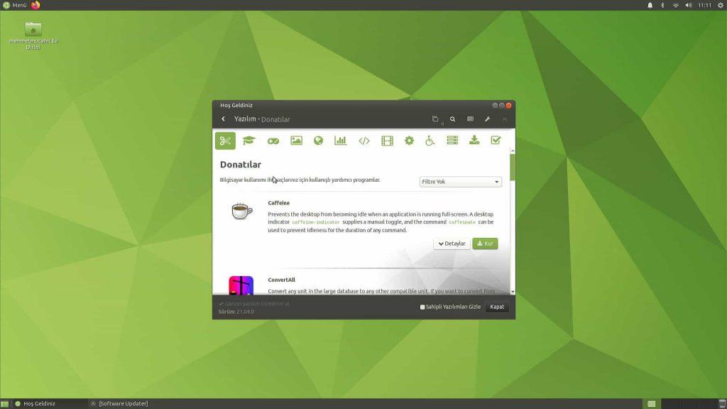 Ubuntu Mate 20.04 Yazılım Mağazası